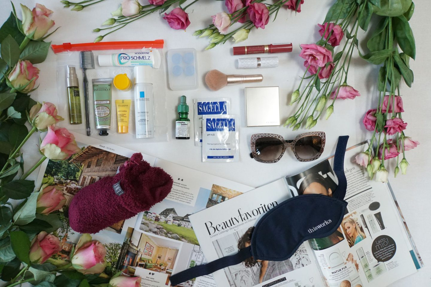 Beauty essentials for long-distance flights in-flight beauty pack fashionistatravel