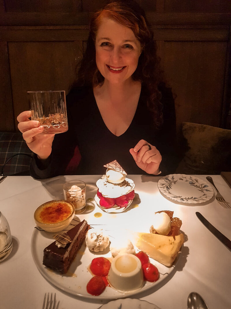 Two Fats' Grand Dessert at the Two Fat Ladies at the buttery restaurant in Glasgow